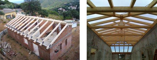 Montaje estructuras de madera para tejados cubiertas - Estructura madera laminada ...